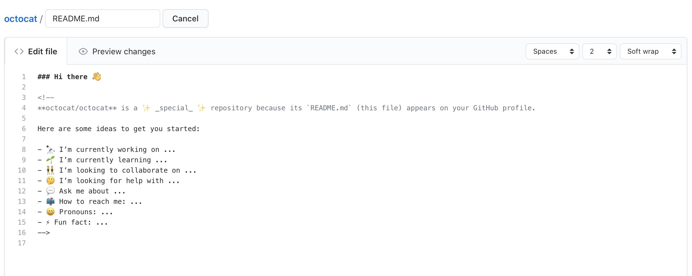 テンプレートが事前入力された README ファイル
