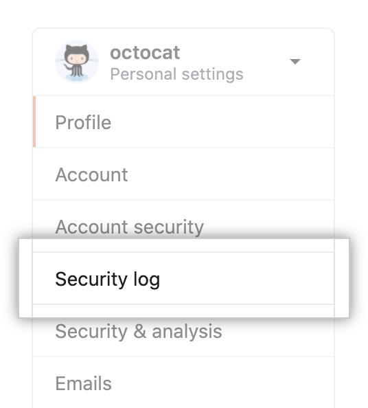 "Registerkarte ""Security log"" (Sicherheitsprotokoll)"