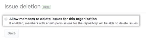 Issue の削除を許可するチェックボックス