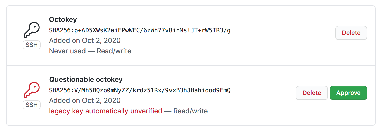 Lista de chaves SSH