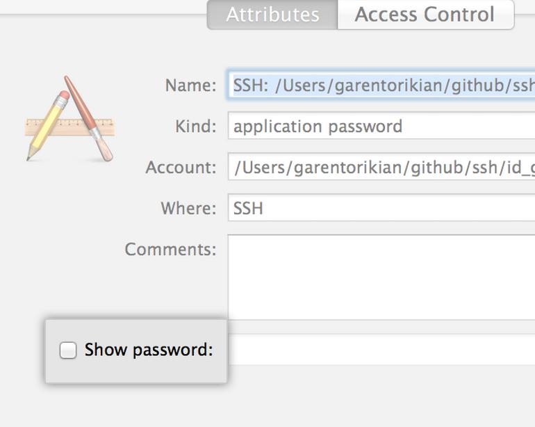 Keychain access dialog