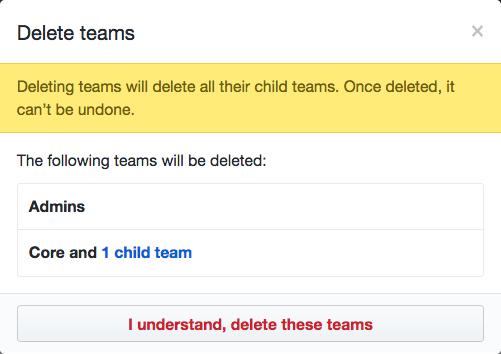 Lista de equipes que serão excluídas e o botão Delete teams (Excluir equipes)